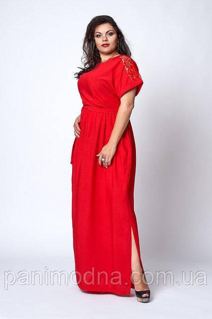 Штапельное легкое женское платье с кружевом под поясок