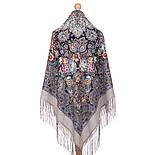 Бенефис 1769-2, павлопосадский платок шерстяной (двуниточная шерсть) с шелковой вязаной бахромой, фото 3