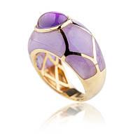 изящное кольцо из желтого золота с аметистом