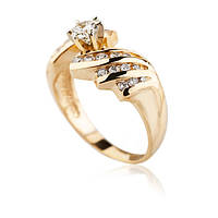 модное кольцо из желтого золота с бриллиантами