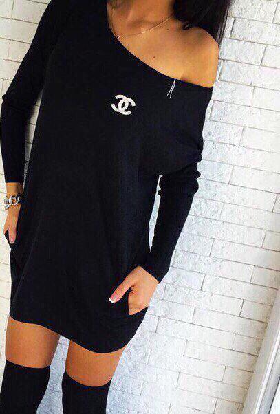Платье женское короткое черное (К23746)