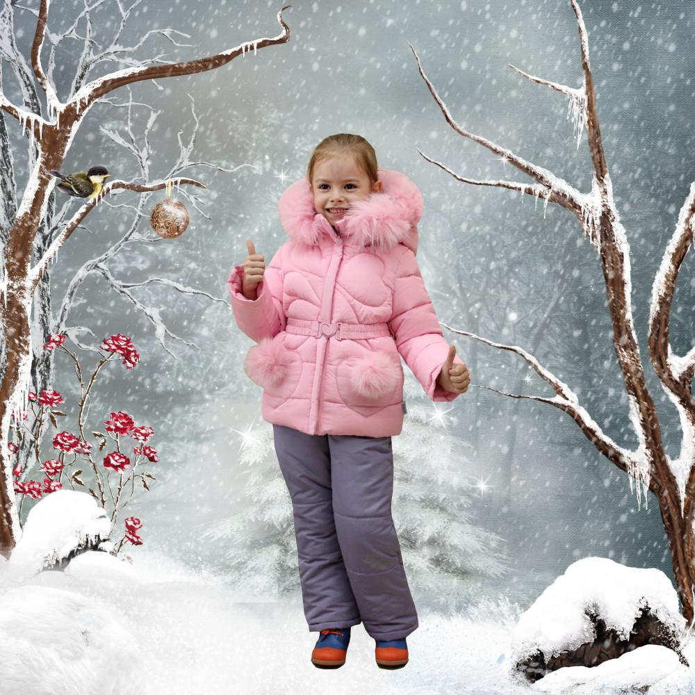 Детский зимний комбинезон для девочки от Kiko 4926, 74-98