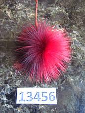 Меховой помпон Чернобурка, Красный, 11 см, 13456, фото 3