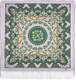 Дождь 1779-1, павлопосадский платок шерстяной (двуниточная шерсть) с шелковой вязаной бахромой