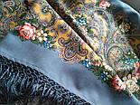 Жизель 1783-10, павлопосадский платок шерстяной (двуниточная шерсть) с шелковой вязаной бахромой, фото 5
