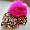 Брелок Меховой Помпон с Сердцем на Сумку для Модниц, фото 7