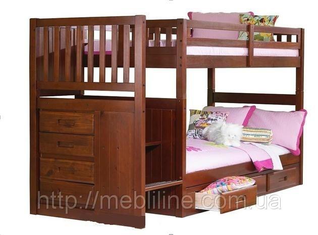 """Двох'ярусне ліжко з драбиною-комодом """"П'єро"""""""