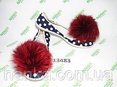 Меховой помпон Чернобурка, Красный, 12 см, пара 13483, фото 2