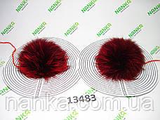 Меховой помпон Чернобурка, Красный, 12 см, пара 13483, фото 3
