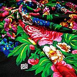 День Победы 235-18, павлопосадский платок (шаль) из уплотненной шерсти с шелковой вязанной бахромой, фото 4