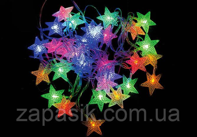 Внутренняя Светодиодная Гирлянда Звездочки на Елку Новогодняя 40 LED Мульти