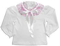 Блуза для девочки Нарядная Стразы, Стрейч-кулир, 104, 98, 95% хлопок, Украина, Розовый, Розовый