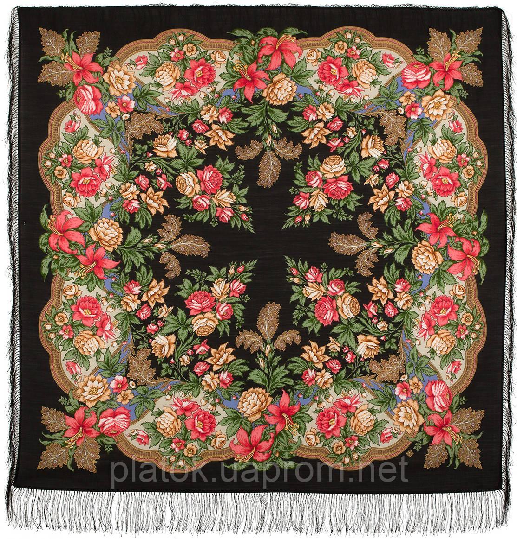 Пленительный июль 1730-18, павлопосадский платок шерстяной  с шелковой бахромой