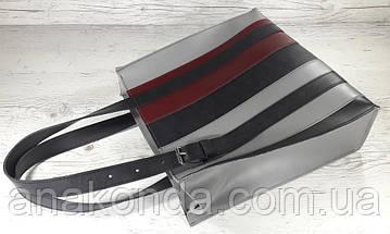 422-к Натуральная кожа,Сумка-пакет на молнии, комбинированный серый черный марсала, фото 2