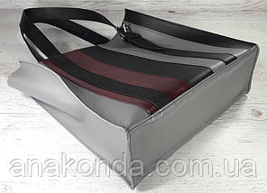 422-к Натуральная кожа,Сумка-пакет на молнии, комбинированный серый черный марсала, фото 3