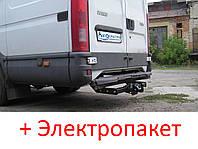 Фаркоп - Iveco Daily Микроавтобус (2006-2014)  съемный на 4 болта на пластине кованый, фото 1
