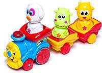 Музыкальный паровозик с животными с синим локомотивом (укр. упаковка), BeBeLino