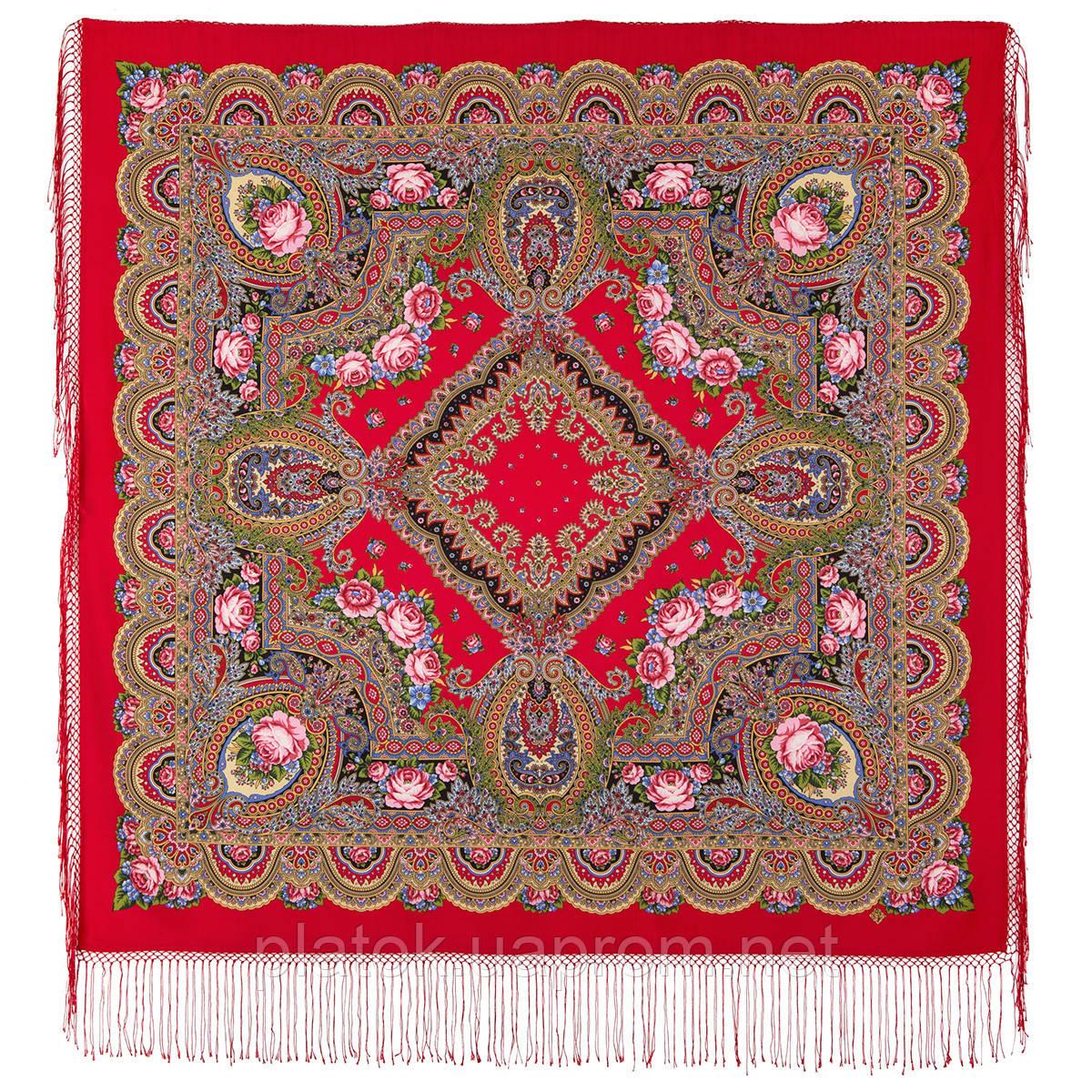 Русское раздолье 1619-5, павлопосадский платок шерстяной (двуниточная шерсть) с шелковой бахромой
