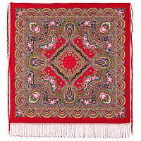 Русское раздолье 1619-5, павлопосадский платок шерстяной (двуниточная шерсть) с шелковой бахромой, фото 1