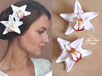 """""""Белая орхидея с росписью"""" заколка для волос цветок из полимерной глиной ручной работы(1шт), фото 1"""