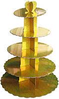 Стенд п'ятиярусний картонний круглий для капкейків золотого кольору з голограмою (шт)