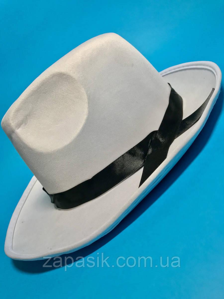 Карнавальный Головной Убор Гангстерская Шляпа Гангстера Белый Цвет с Черной Лентой
