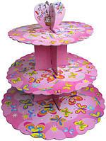 Стенд триярусний картонний круглий для капкейків рожевого кольору (шт)