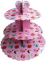 Стенд триярусний картонний круглий для капкейків коралового кольору (шт)
