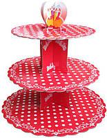 Стенд триярусний картонний круглий для капкейків червоного кольору з горошком (шт)