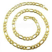 Толстая цепочка из ювелирной стали и позолоты