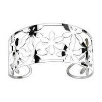 Женский браслет из стали Cuff-браслет с цветочками