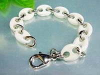 Женский браслет из стали и керамики белый