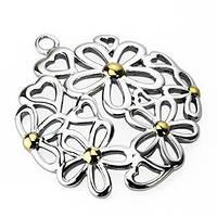 Женский кулон круг с цветами