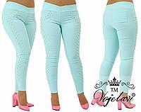 Лосины-джинсовые стрейч-джинс + жемчуг зажат крабиком. Разные цвета., фото 1
