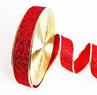 Лента Декоративная Новогодняя с Узорами Проволочный край для Украшения Подарков и Интерьера 3 см