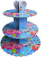 Стенд триярусний картонний круглий для капкейків блакитного кольору (шт)