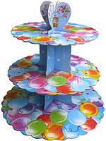 Стенд триярусний картонний круглий для капкейків різнокольорові кульки (шт)