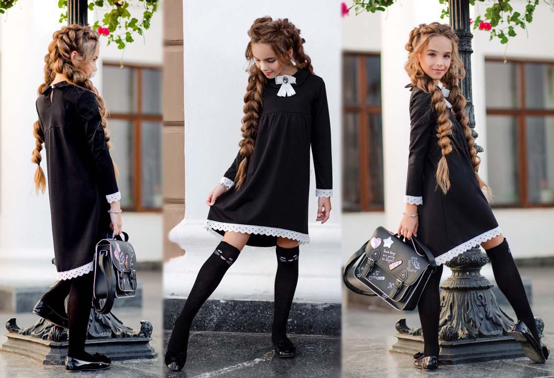 """Детское стильное платье """"Ассиметрия Кружево Брошь-Бант"""" в школьных расцветках"""