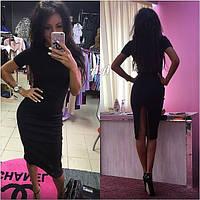 Приталенное платье вечернее черное разрез сзади