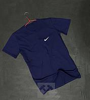 Темно синяя футболка мужская Найк Nike бархатный принт (РЕПЛИКА) 05ce364b8100f