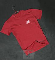 Червона футболка New Balance Нью Баланс оксамитовий принт (РЕПЛІКА)