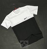Черно белая футболка мужская Найк Nike бархатный принт (РЕПЛИКА)
