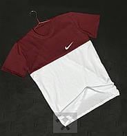 Двуцветная футболка бордовый с белым Найк Nike бархатный принт (РЕПЛИКА)