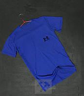 Качественная синяя футболка мужская Under Armour Андер Армор бархатный принт (РЕПЛИКА)