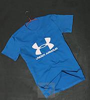 Модная голубая футболка мужская Under Armour Андер Армор бархатный принт (РЕПЛИКА)