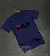 Футболка чоловіча темно синя Fila Філа оксамитовий принт (РЕПЛІКА)