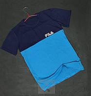 Синяя с голубым мужская футболка Fila Фила бархатный принт (РЕПЛИКА)