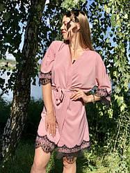 Нежный лёгкий халатик с кружевом Розовый