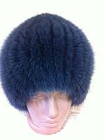 Меховая шапка из песца темно  серого  цвета на вязанной  основе