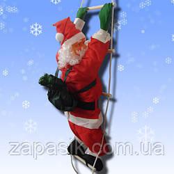 Новогодняя Игрушка Подвесной Santa Claus Декор для Дома Санта Клаус с Мешком Лезет по Лестнице 20 см